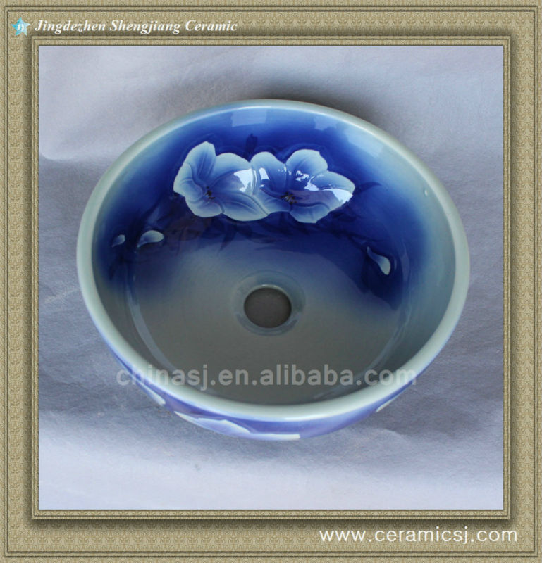588837725_774 colorful chinese ceramic bathroom sink WRYBH93 - shengjiang  ceramic  factory   porcelain art hand basin wash sink