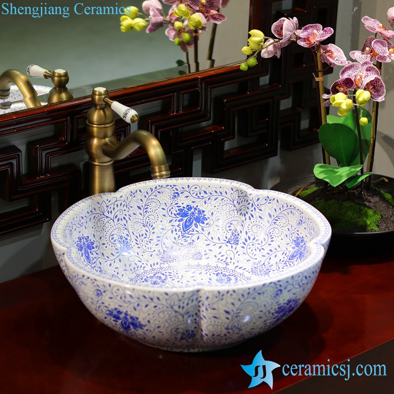 LT-1607-02-白波西米亚 LT-1607-02/05/21/27/28/34 Best quality Bohemia style floral mark different color series scallop shape porcelain counter top sink - shengjiang  ceramic  factory   porcelain art hand basin wash sink