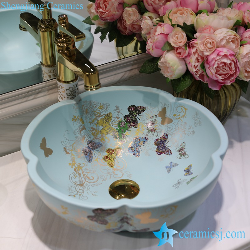 LT-1607-07-哑光绿金蝴蝶花园 LT-1607-07/09/12/20/24/30/32 Butterfly pattern series flower shape graceful hotel furnishing ceramic sink bowl - shengjiang  ceramic  factory   porcelain art hand basin wash sink