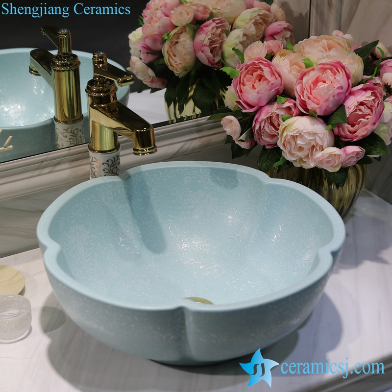 LT-1607-08-哑光绿堆白波西米亚 LT-1607-08/10/14/36/41 Matt glazed solid color floral stamping bathroom chinaware decorative sink basin - shengjiang  ceramic  factory   porcelain art hand basin wash sink