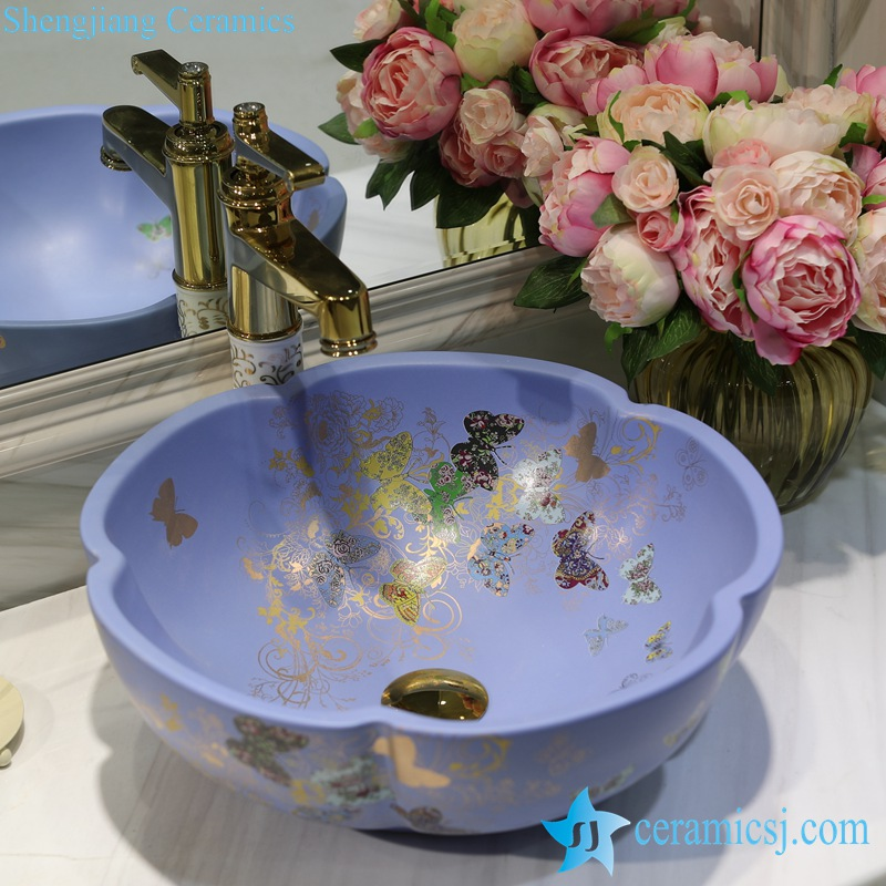 LT-1607-09-哑光蓝金蝴蝶花园 LT-1607-07/09/12/20/24/30/32 Butterfly pattern series flower shape graceful hotel furnishing ceramic sink bowl - shengjiang  ceramic  factory   porcelain art hand basin wash sink