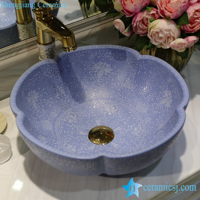LT-1607-10-哑光蓝堆白波西米亚 LT-1607-08/10/14/36/41 Matt glazed solid color floral stamping bathroom chinaware decorative sink basin - shengjiang  ceramic  factory   porcelain art hand basin wash sink
