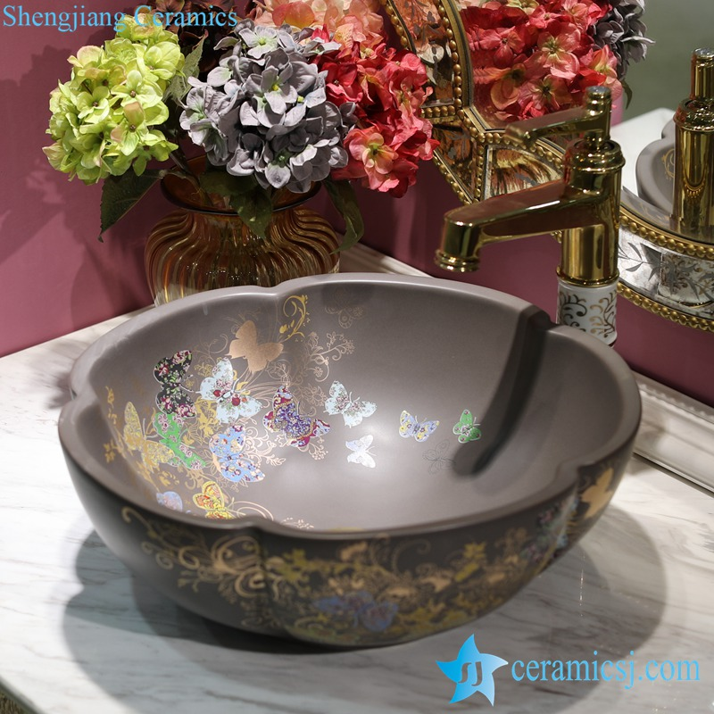 LT-1607-12-哑光灰釉金蝴蝶花园 LT-1607-07/09/12/20/24/30/32 Butterfly pattern series flower shape graceful hotel furnishing ceramic sink bowl - shengjiang  ceramic  factory   porcelain art hand basin wash sink