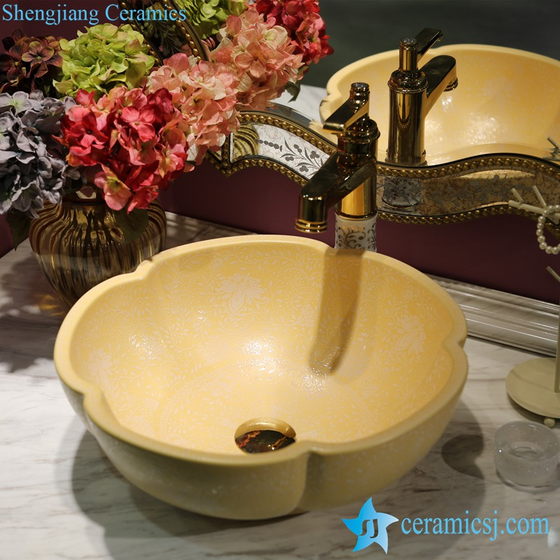 LT-1607-14-哑光黄堆白波西米亚 LT-1607-08/10/14/36/41 Matt glazed solid color floral stamping bathroom chinaware decorative sink basin - shengjiang  ceramic  factory   porcelain art hand basin wash sink