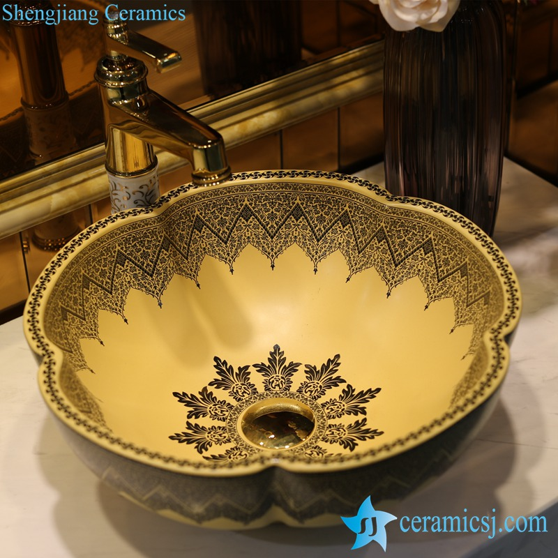 LT-1607-16-哑光黄带顶阿拉伯 LT-1607-16 Matte yellow color glazed Gothic architecture style flower shape enamel home furnishing wash basin sink - shengjiang  ceramic  factory   porcelain art hand basin wash sink