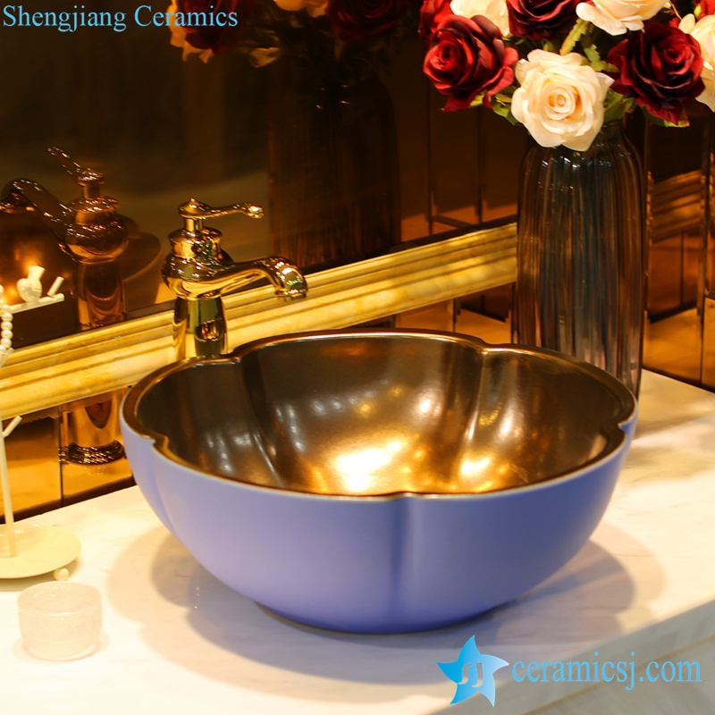 LT-1607-17-外蓝里金属 LT-1607-04/06/13/17/29 Gold plated inside solid color outside flower shape series ceramic toilet wash hand rinse - shengjiang  ceramic  factory   porcelain art hand basin wash sink