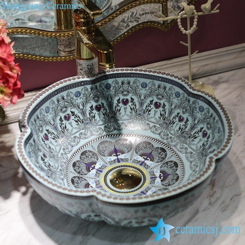 LT-1607-18-全蓝钻石 LT-1607-18/22/26/38/40 Different color glaze diamond mark OEM ceramic bar top wash basin - shengjiang  ceramic  factory   porcelain art hand basin wash sink