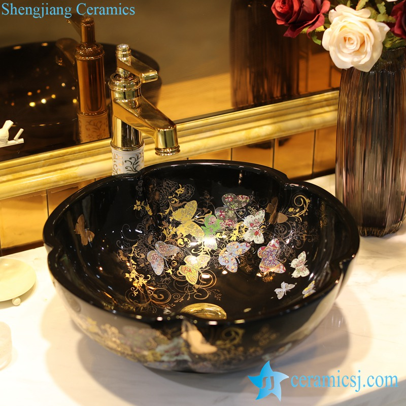 LT-1607-20-全黑金蝴蝶花园 LT-1607-07/09/12/20/24/30/32 Butterfly pattern series flower shape graceful hotel furnishing ceramic sink bowl - shengjiang  ceramic  factory   porcelain art hand basin wash sink