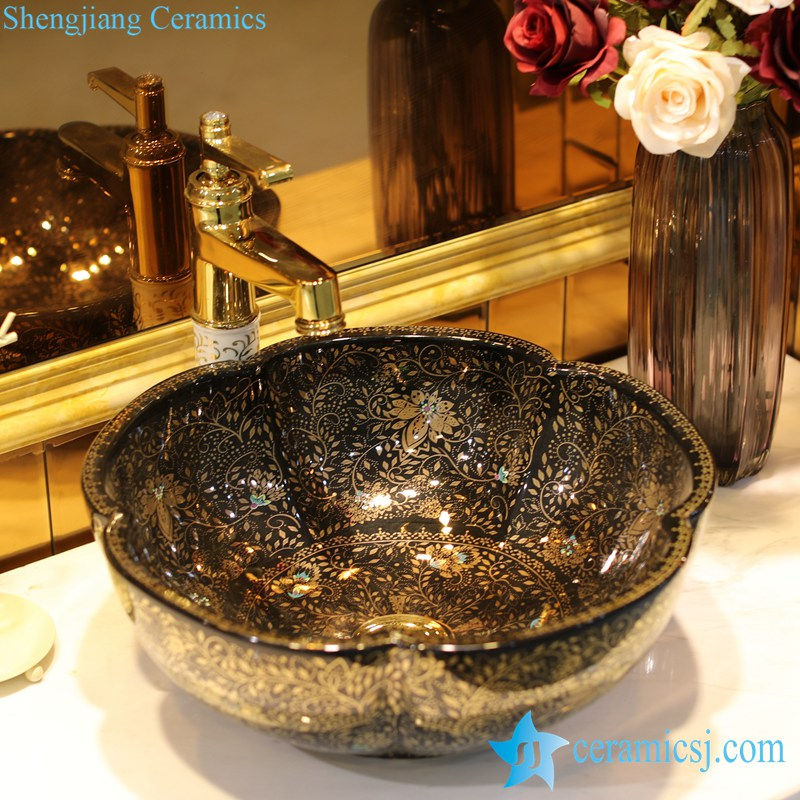 LT-1607-21-全黑金波西米亚 LT-1607-02/05/21/27/28/34 Best quality Bohemia style floral mark different color series scallop shape porcelain counter top sink - shengjiang  ceramic  factory   porcelain art hand basin wash sink