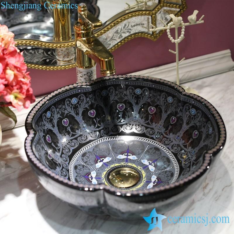 LT-1607-22-全黑彩色钻石 LT-1607-18/22/26/38/40 Different color glaze diamond mark OEM ceramic bar top wash basin - shengjiang  ceramic  factory   porcelain art hand basin wash sink