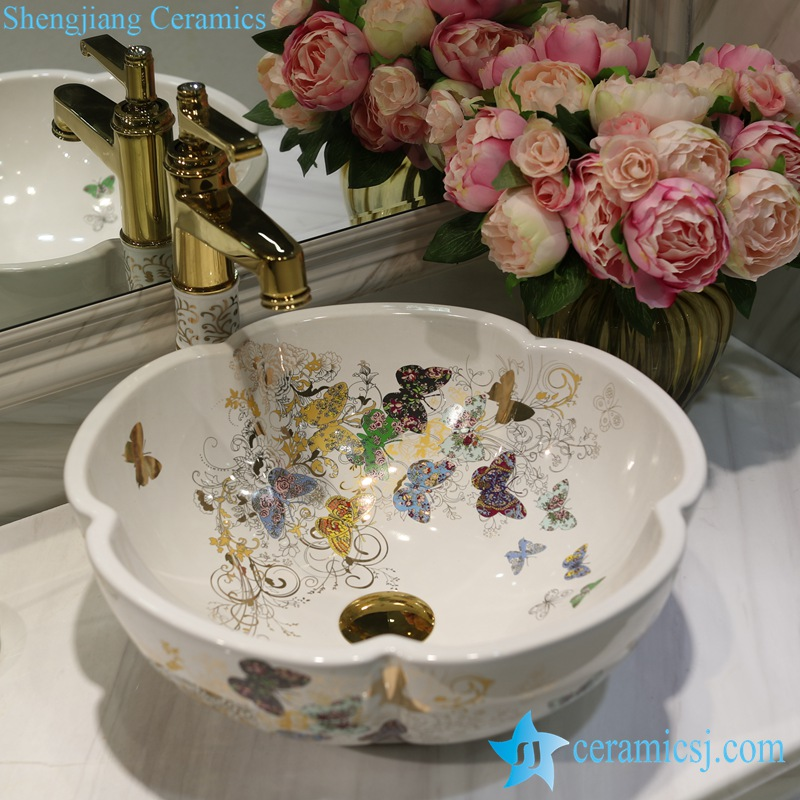 LT-1607-24-全白金蝴蝶花园 LT-1607-07/09/12/20/24/30/32 Butterfly pattern series flower shape graceful hotel furnishing ceramic sink bowl - shengjiang  ceramic  factory   porcelain art hand basin wash sink