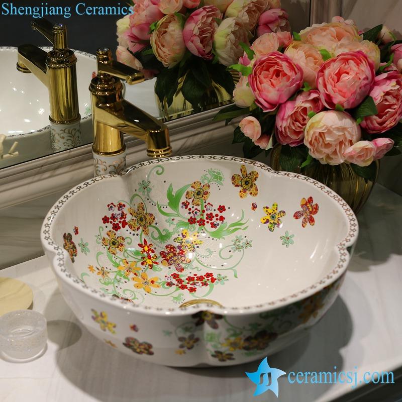 LT-1607-25-全白红金花 LT-1607-25/33/37 Romantic flower mark showering room ceramic counter top sink basin bowl - shengjiang  ceramic  factory   porcelain art hand basin wash sink