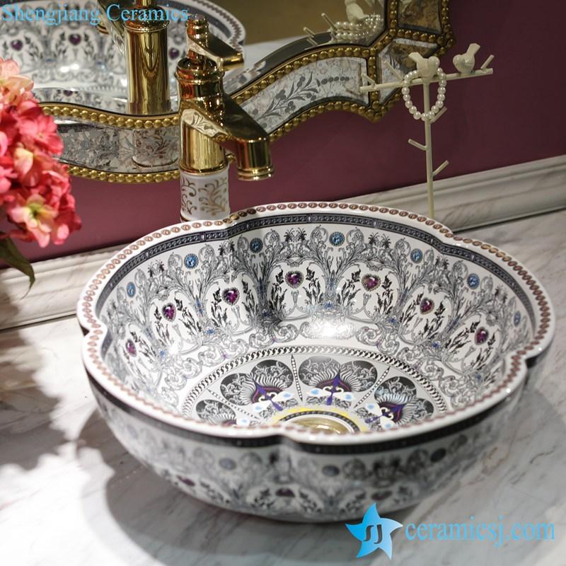 LT-1607-26-全白彩色钻石 LT-1607-18/22/26/38/40 Different color glaze diamond mark OEM ceramic bar top wash basin - shengjiang  ceramic  factory   porcelain art hand basin wash sink