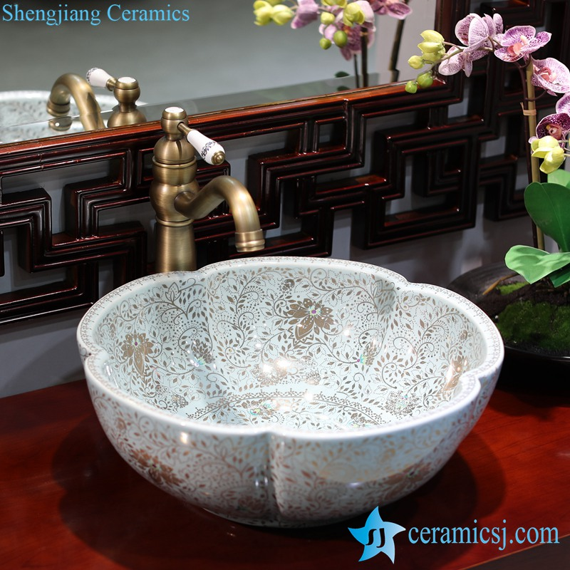 LT-1607-27-蓝色金波西米亚 LT-1607-02/05/21/27/28/34 Best quality Bohemia style floral mark different color series scallop shape porcelain counter top sink - shengjiang  ceramic  factory   porcelain art hand basin wash sink