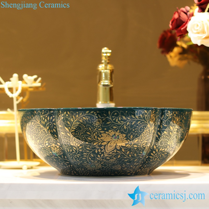 LT-1607-28-孔雀绿金波西米亚 LT-1607-02/05/21/27/28/34 Best quality Bohemia style floral mark different color series scallop shape porcelain counter top sink - shengjiang  ceramic  factory   porcelain art hand basin wash sink