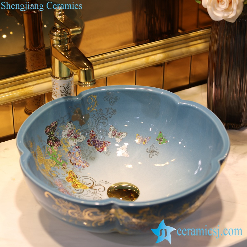 LT-1607-30-渐变金蝴蝶花园 LT-1607-07/09/12/20/24/30/32 Butterfly pattern series flower shape graceful hotel furnishing ceramic sink bowl - shengjiang  ceramic  factory   porcelain art hand basin wash sink