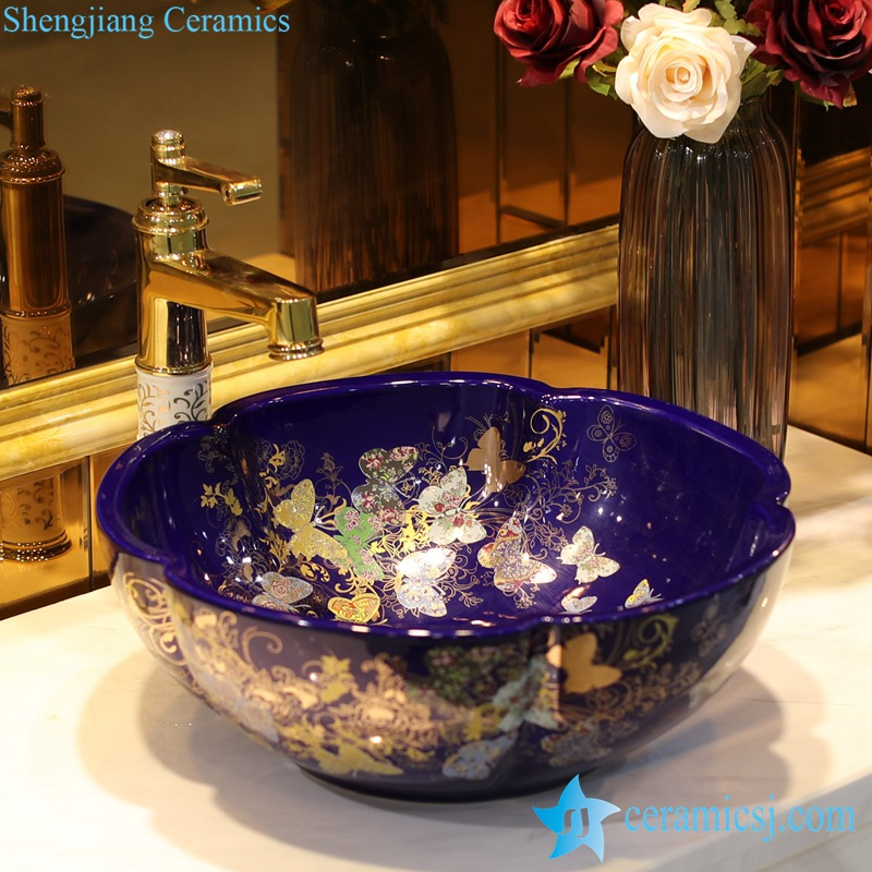LT-1607-32-季蓝金蝴蝶花园 LT-1607-07/09/12/20/24/30/32 Butterfly pattern series flower shape graceful hotel furnishing ceramic sink bowl - shengjiang  ceramic  factory   porcelain art hand basin wash sink