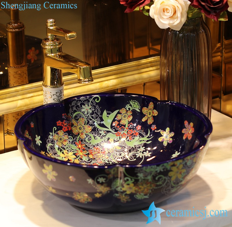 LT-1607-33-季蓝红金花 LT-1607-25/33/37 Romantic flower mark showering room ceramic counter top sink basin bowl - shengjiang  ceramic  factory   porcelain art hand basin wash sink