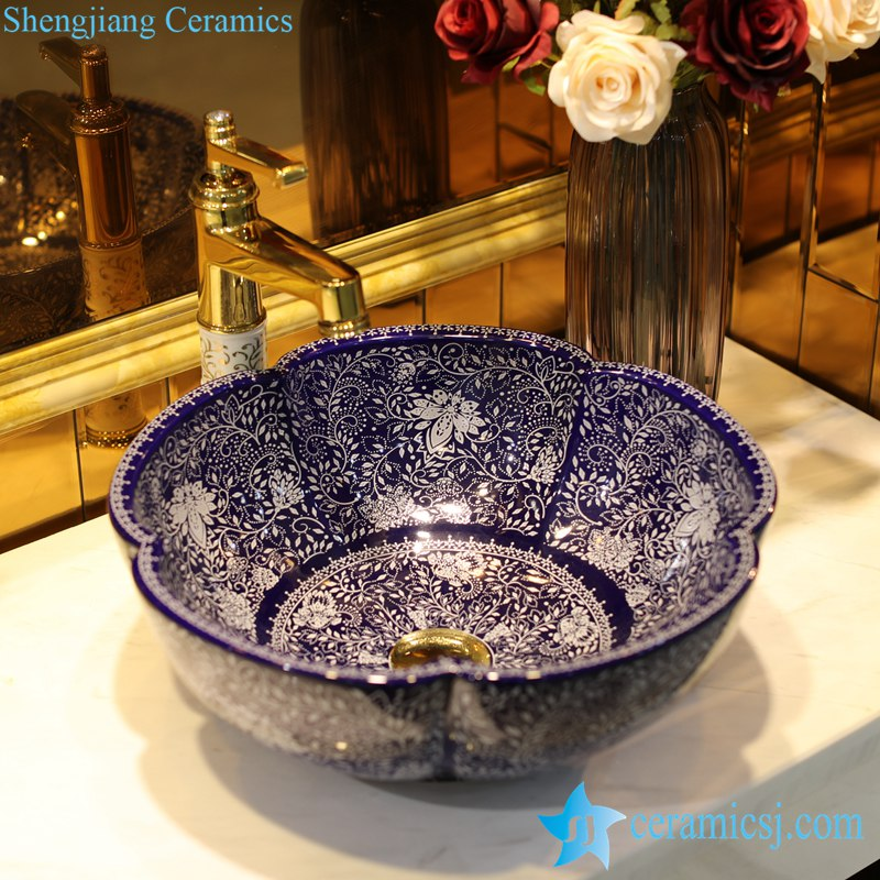 LT-1607-34-季蓝堆白波西米亚 LT-1607-02/05/21/27/28/34 Best quality Bohemia style floral mark different color series scallop shape porcelain counter top sink - shengjiang  ceramic  factory   porcelain art hand basin wash sink