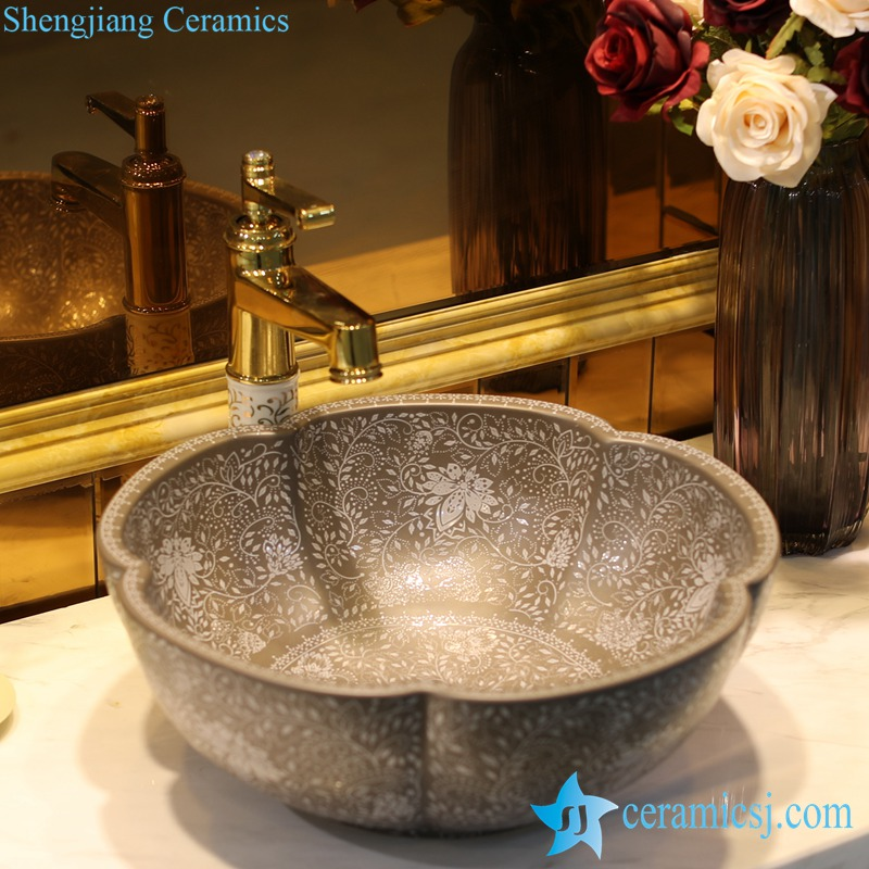 LT-1607-36-灰釉堆白波西米亚 LT-1607-08/10/14/36/41 Matt glazed solid color floral stamping bathroom chinaware decorative sink basin - shengjiang  ceramic  factory   porcelain art hand basin wash sink