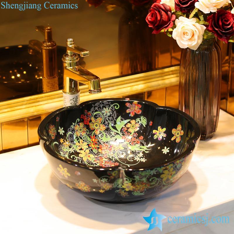 LT-1607-37-红金花全黑 LT-1607-25/33/37 Romantic flower mark showering room ceramic counter top sink basin bowl - shengjiang  ceramic  factory   porcelain art hand basin wash sink