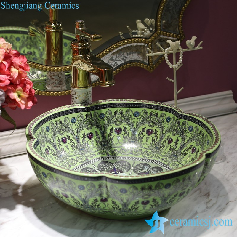 LT-1607-38-果绿钻 LT-1607-18/22/26/38/40 Different color glaze diamond mark OEM ceramic bar top wash basin - shengjiang  ceramic  factory   porcelain art hand basin wash sink