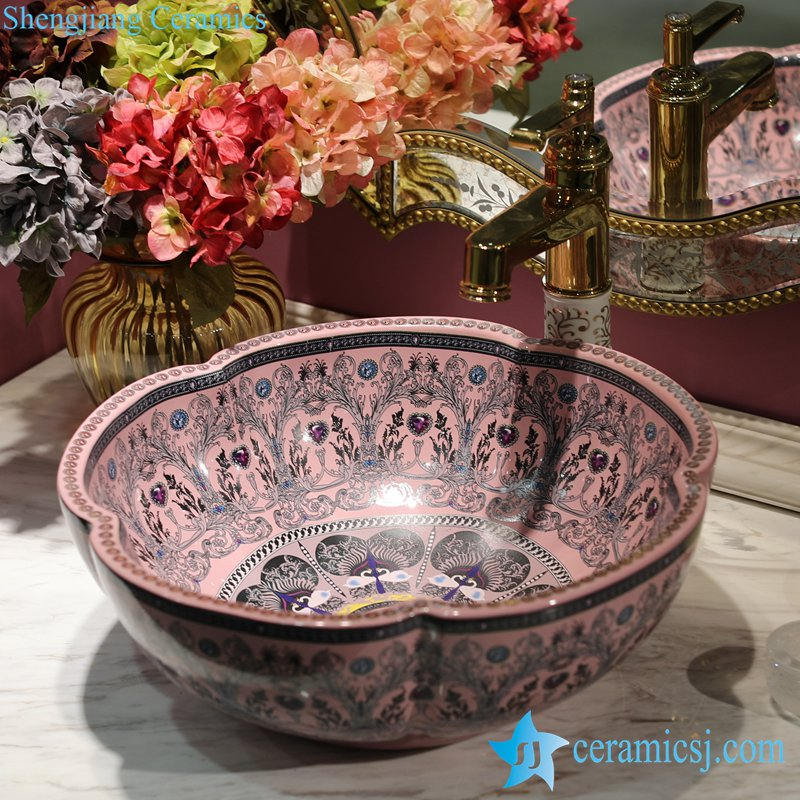 LT-1607-40-粉色彩色钻石 LT-1607-18/22/26/38/40 Different color glaze diamond mark OEM ceramic bar top wash basin - shengjiang  ceramic  factory   porcelain art hand basin wash sink