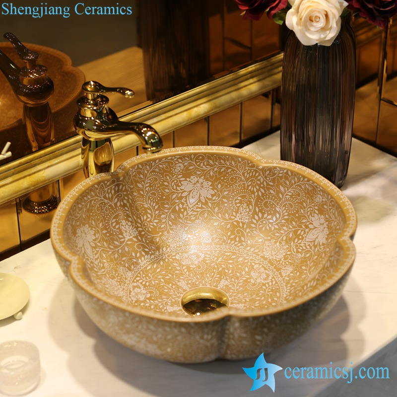 LT-1607-41-堆白咖啡色波西米亚 LT-1607-08/10/14/36/41 Matt glazed solid color floral stamping bathroom chinaware decorative sink basin - shengjiang  ceramic  factory   porcelain art hand basin wash sink