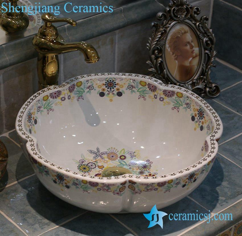 LT-1A2326 LT-1A2326 Jingdezhen art ceramic wash basin / unique bathroom sink - shengjiang  ceramic  factory   porcelain art hand basin wash sink