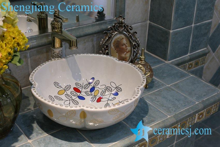 LT-1A8087-1 LT-1A8087 Jingdezhen art ceramic wash basin / unique bathroom sink - shengjiang  ceramic  factory   porcelain art hand basin wash sink