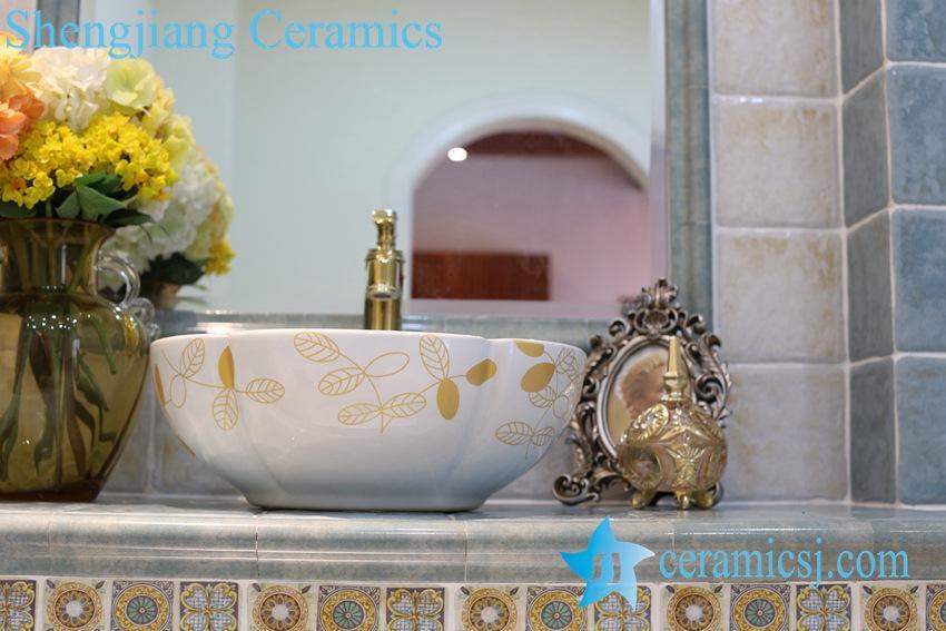 LT-1A8091 LT-1A8087 Jingdezhen art ceramic wash basin / unique bathroom sink - shengjiang  ceramic  factory   porcelain art hand basin wash sink