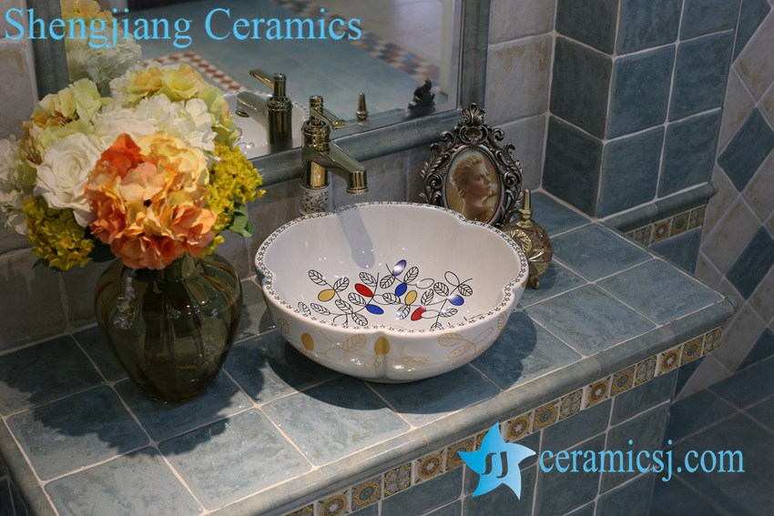 LT-1A8092 LT-1A8087 Jingdezhen art ceramic wash basin / unique bathroom sink - shengjiang  ceramic  factory   porcelain art hand basin wash sink