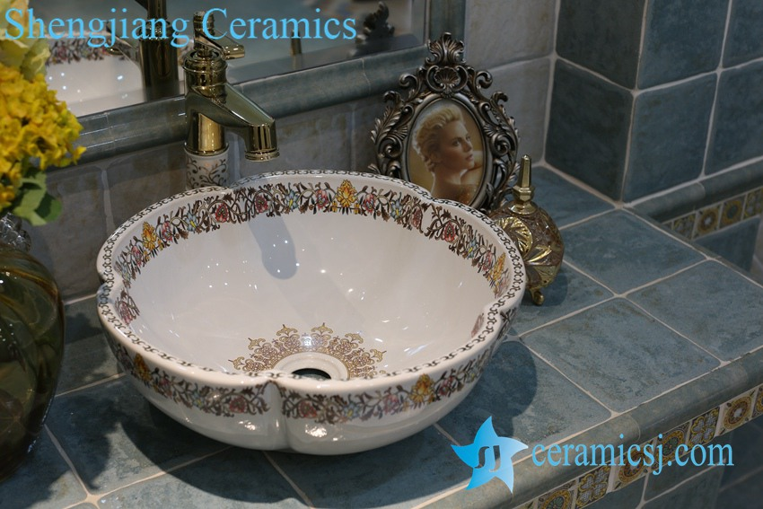 LT-1A8099-1 LT-1A8096 Jingdezhen art ceramic wash basin / unique bathroom sink - shengjiang  ceramic  factory   porcelain art hand basin wash sink