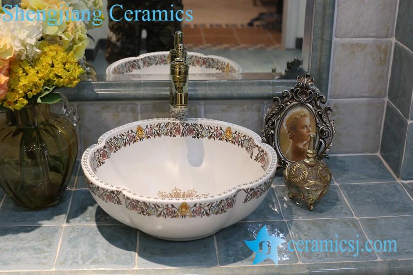 LT-1A8101 LT-1A8096 Jingdezhen art ceramic wash basin / unique bathroom sink - shengjiang  ceramic  factory   porcelain art hand basin wash sink