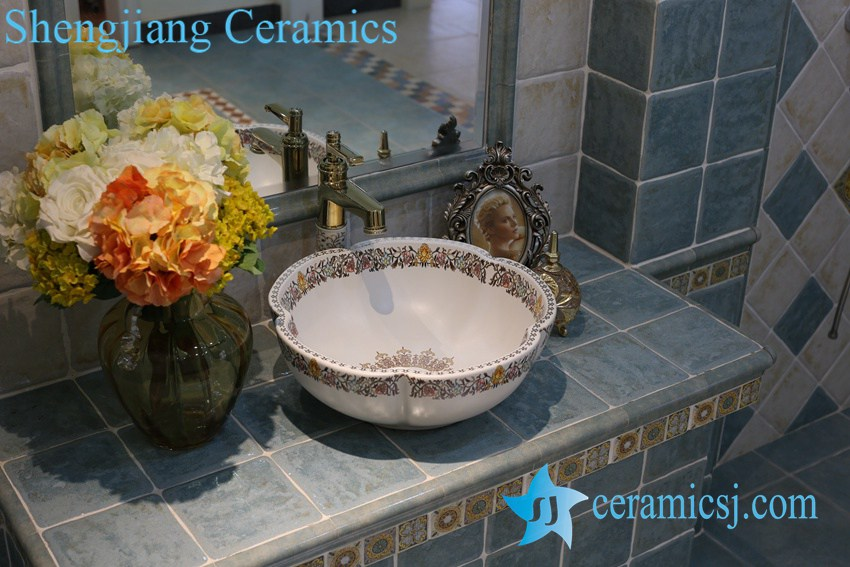 LT-1A8109 LT-1A8096 Jingdezhen art ceramic wash basin / unique bathroom sink - shengjiang  ceramic  factory   porcelain art hand basin wash sink