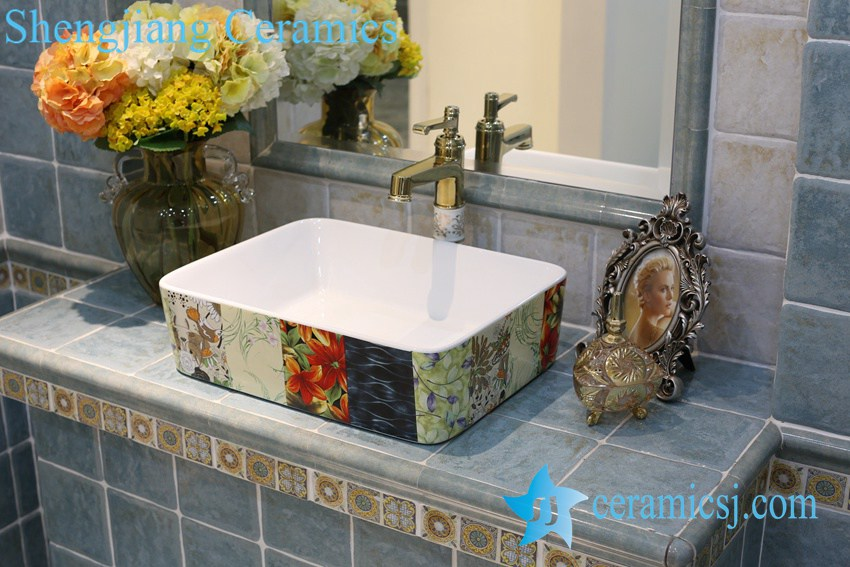 LT-1A8203 LT-1A8204 Jingdezhen art ceramic wash basin / unique bathroom sink - shengjiang  ceramic  factory   porcelain art hand basin wash sink