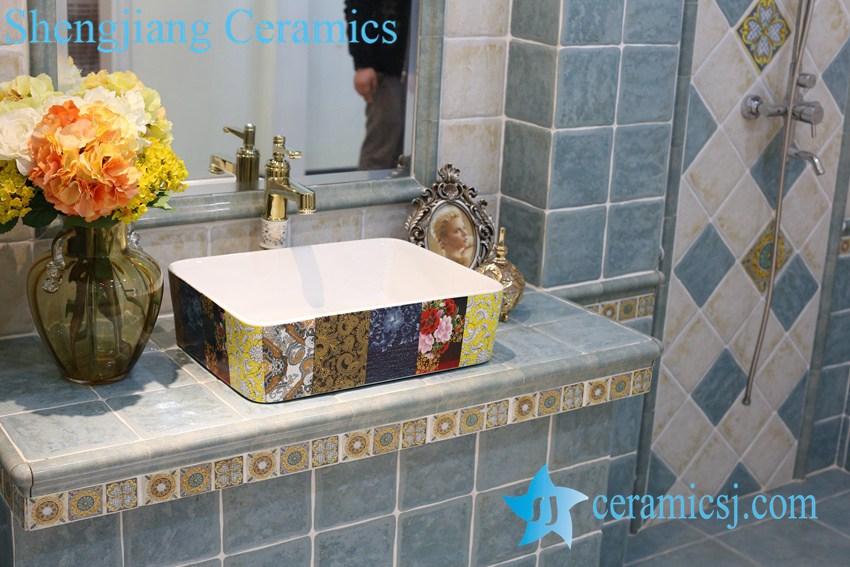 LT-1A8207 LT-1A8207 Jingdezhen art ceramic wash basin / unique bathroom sink - shengjiang  ceramic  factory   porcelain art hand basin wash sink