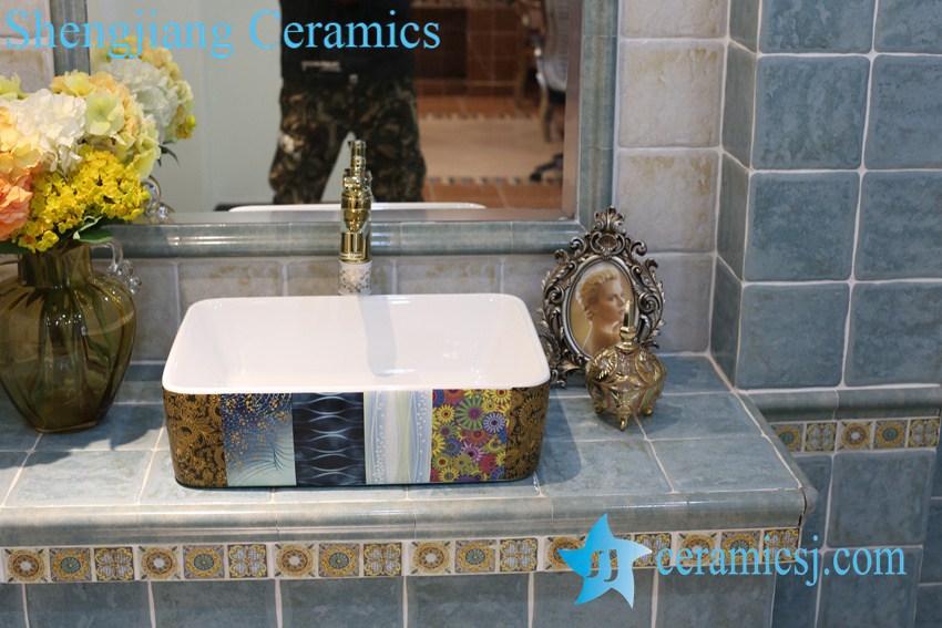 LT-1A8227 LT-1A8227 Jingdezhen art ceramic wash basin / unique bathroom sink - shengjiang  ceramic  factory   porcelain art hand basin wash sink