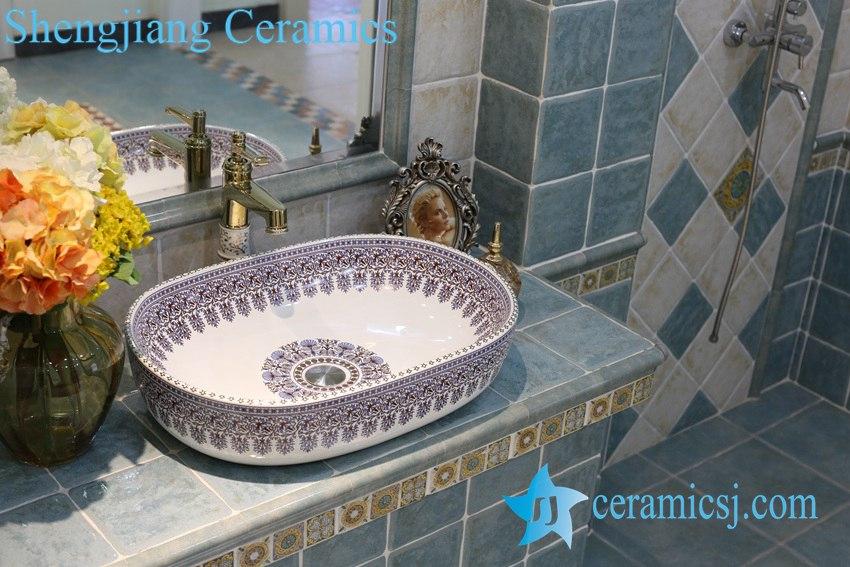 LT-1A8249 LT-1A8249 Jingdezhen art ceramic wash basin / unique bathroom sink - shengjiang  ceramic  factory   porcelain art hand basin wash sink