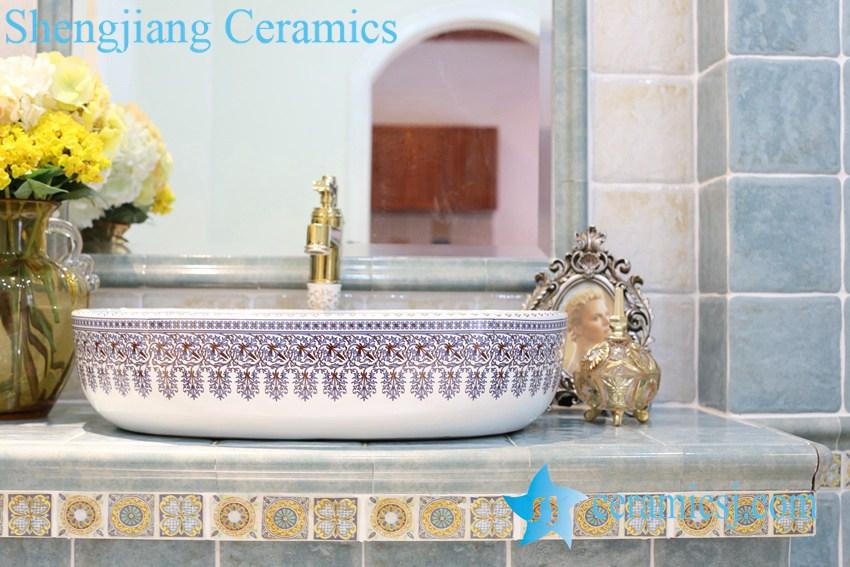 LT-1A8251 LT-1A8249 Jingdezhen art ceramic wash basin / unique bathroom sink - shengjiang  ceramic  factory   porcelain art hand basin wash sink