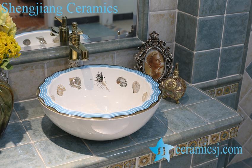 LT-1A8256 LT-1A8256 Jingdezhen art ceramic wash basin / unique bathroom sink - shengjiang  ceramic  factory   porcelain art hand basin wash sink