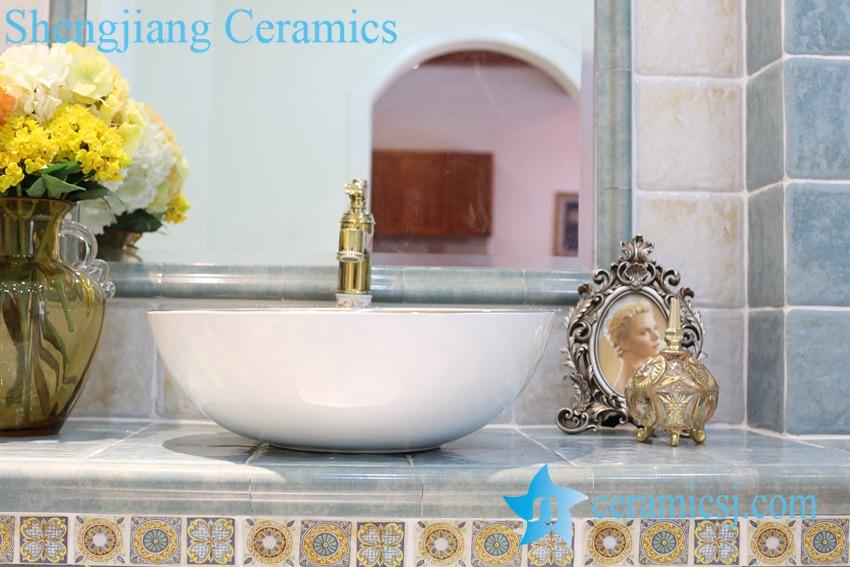 LT-1A8259 LT-1A8256 Jingdezhen art ceramic wash basin / unique bathroom sink - shengjiang  ceramic  factory   porcelain art hand basin wash sink