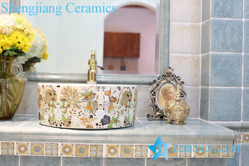 LT-1A8278 LT-1A8276 Jingdezhen art ceramic wash basin / unique bathroom sink - shengjiang  ceramic  factory   porcelain art hand basin wash sink