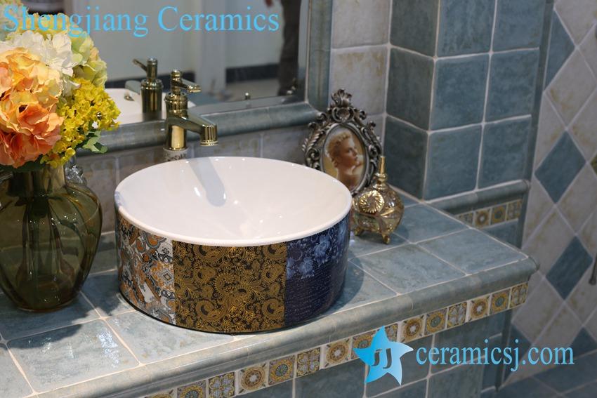 LT-1A8282 LT-1A8282 Jingdezhen art ceramic wash basin / unique bathroom sink - shengjiang  ceramic  factory   porcelain art hand basin wash sink