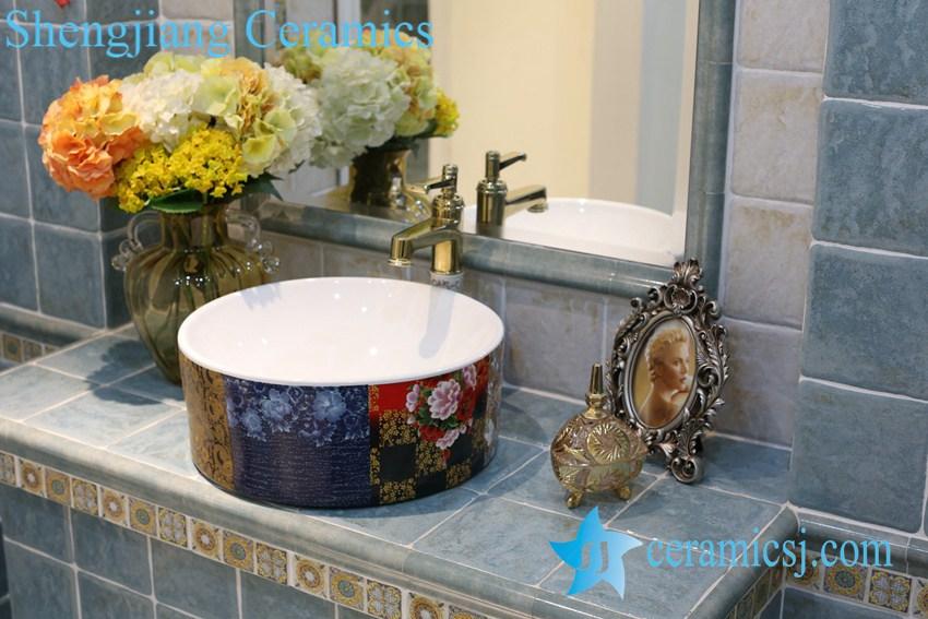 LT-1A8284 LT-1A8282 Jingdezhen art ceramic wash basin / unique bathroom sink - shengjiang  ceramic  factory   porcelain art hand basin wash sink