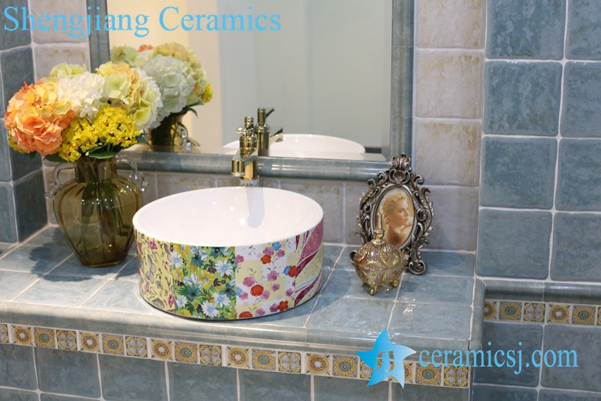 LT-1A8305 LT-1A8301 Jingdezhen art ceramic wash basin / unique bathroom sink - shengjiang  ceramic  factory   porcelain art hand basin wash sink