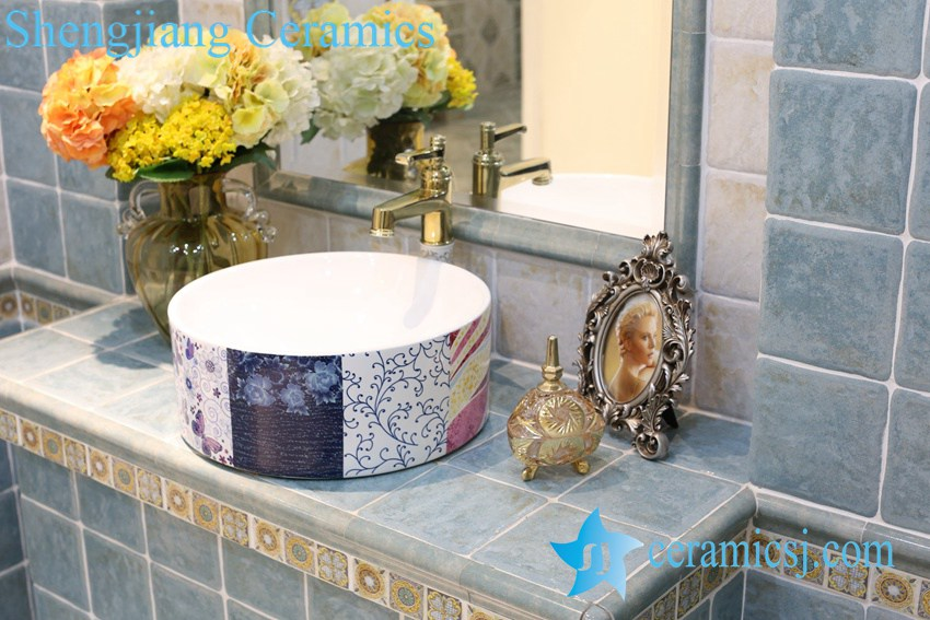 LT-1A8308 LT-1A8306 Jingdezhen art ceramic wash basin / unique bathroom sink - shengjiang  ceramic  factory   porcelain art hand basin wash sink