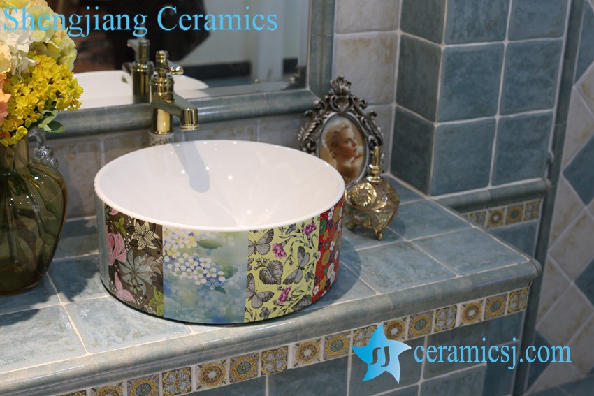 LT-1A8338 LT-1A8338 Jingdezhen art ceramic wash basin / unique bathroom sink - shengjiang  ceramic  factory   porcelain art hand basin wash sink