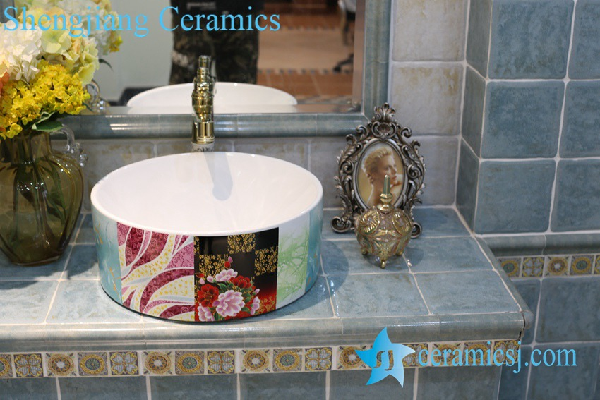 LT-1A8359 LT-1A8358 Jingdezhen art ceramic wash basin / unique bathroom sink - shengjiang  ceramic  factory   porcelain art hand basin wash sink