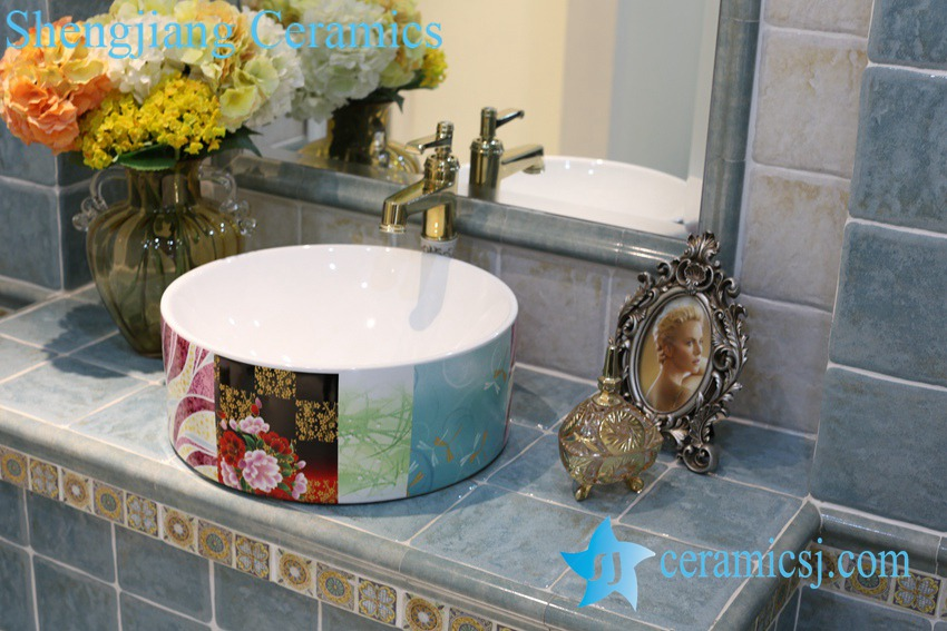 LT-1A8360 LT-1A8358 Jingdezhen art ceramic wash basin / unique bathroom sink - shengjiang  ceramic  factory   porcelain art hand basin wash sink